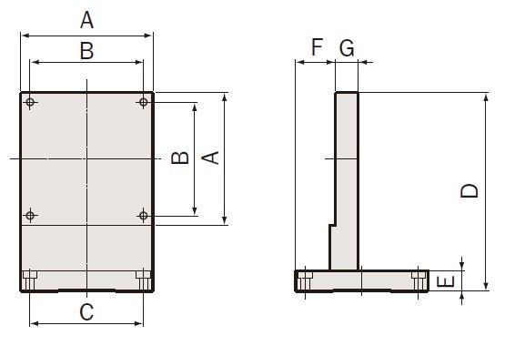 手動機用Zブラケット 寸法図
